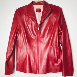 Cole Haan Red Lamb skin leather jacket classic 12